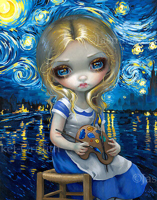 Jasmine Becket-Griffith night art BIG print SIGNED Alice in a Van Gogh Nocturne