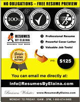 ✴ #1 Resume Writing Service: NO OBLIGATIONS! - $125.00