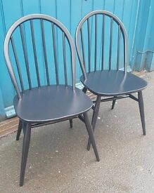 Pair of Ebonised 1960s Ercol Desk/Dining Chairs. Vintage/Retro/Mid Century