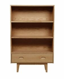 Retro Design Bookcase with Drawer, Oak RRP£299