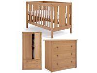 mamas & papas chamberlain cot bed , wardrobe , chest of draws