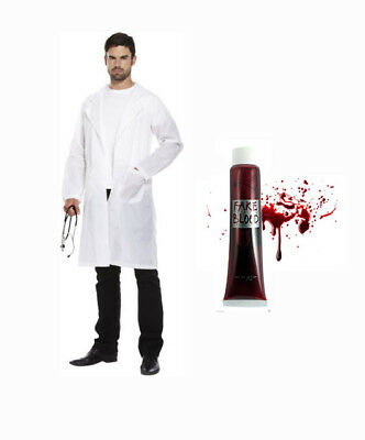 Mad Scientist Lb Coat Set Costume Doctor Jacket Surgeon Crazy Halloween Blood
