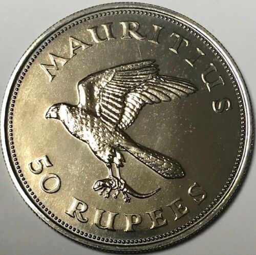 MAURITIUS - Kestrel - 50 Rupees 1975 - Golden Toned Br. Uncirculated Silver Coin