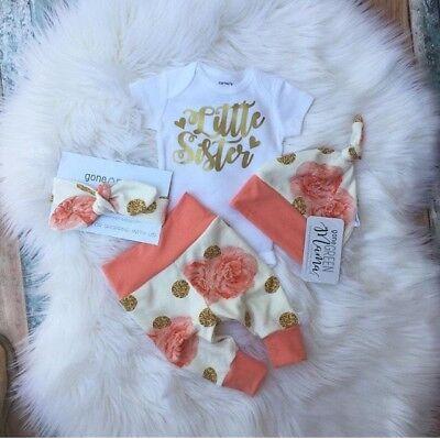 US Seller 4Pcs Newborn Baby Girl Flower Romper Long Pants Legging Hat Outfit Set