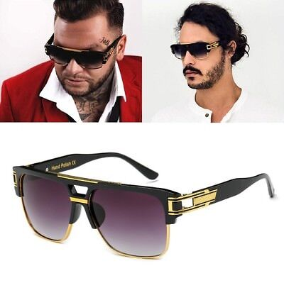 Oversized Square Aviator Gold Metal Bar Black Men Grand Designer Sunglasses NEW