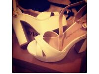 Ladies River Island white heels