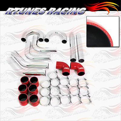 """RED 2.5"""" 63mm Universal Intake Intercooler Pipe DIY Kit Turbo Supercharger NS"""