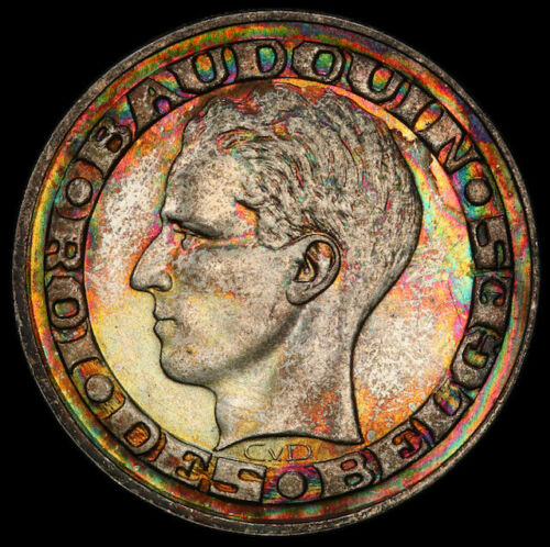 MS65 1958 Belgium Silver 50 Francs, PCGS Secure- Beautifully Rainbow Toned