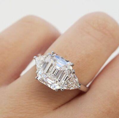 Natural 4.50 Ct 3-Stone Emerald Diamond Trillion Cut Engagement Ring 14K J SI1
