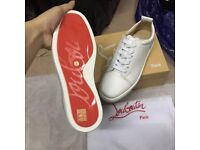 Christian Louboutin White Leather Low Top Red Bottom Sneakers