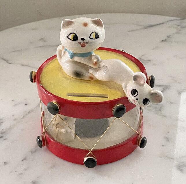 Vintage Holt Howard Cozy Kitten Mice Drum Bank Rare Cat Mouse