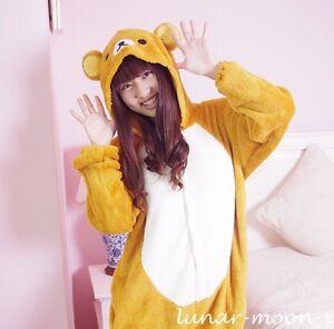 Rilakkuma-Kigurumi-Pajamas-Cosplay-Costume-Clothing-Unisex-Size-S-M-L