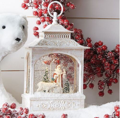 "Raz 12"" Santa and Polar Bear Spinning Water Snow Globe Lantern Spinning Glitter"