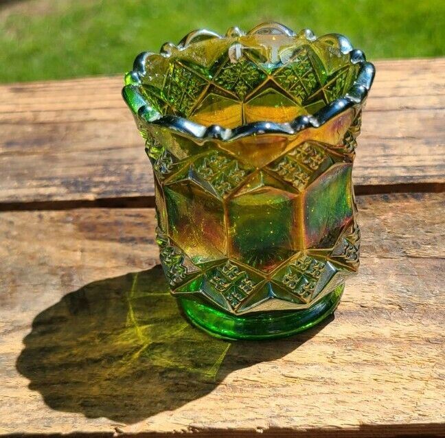 Imperial Glass Carnival On Green Glass Toothpick Holder