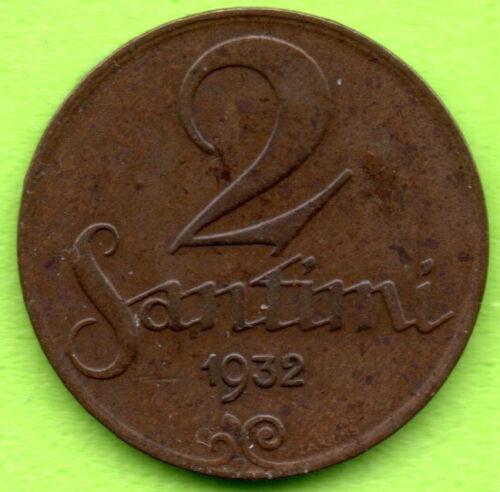 LATVIA LETTLAND 2 SANTIMI 1932 COIN 277