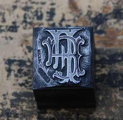 FF Monogramm Bleisatz Druckstock Klischee Stempel Buchstabe Initiale Vintage