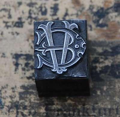 EV  VE Monogramm Bleisatz Druckstock Klischee Stempel Buchstabe Initiale Vintage