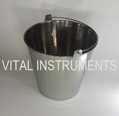 Stainless Steel Bucket Pail 20 Qt Dog Kennel Farm Water Milk Feeding Heavy Duty