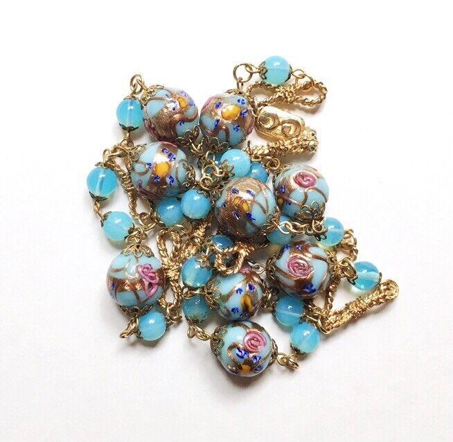 "Antique Venetian Wedding Cake & Opaline Glass Bead Necklace, Sky Blue  1940s 32"""