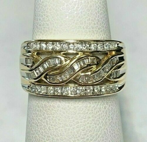 1.00Ct Round Cut VVS1 Diamond 14K Yellow Gold Over Cocktail Engagement Band Ring