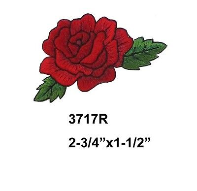 Crimson Embroidery - #3717R Red Rose Flower Embroidery Iron On Applique Patch