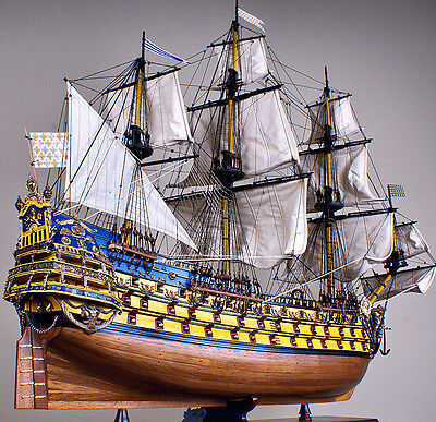 """SOLEIL ROYAL 44"""" large scaled wood model ship historic French tall sailing boat"""