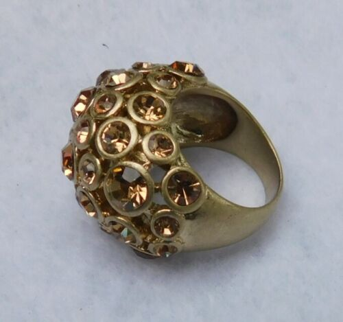 Gold Tn Dome Ring Pave Sz 6-7 Cocktail Lots of Rhinestones Amber Yellow Tone