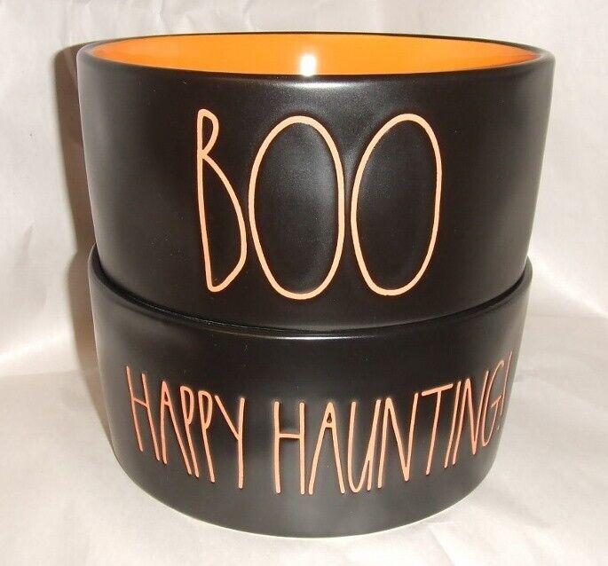 Rae Dunn HAPPY HAUNTING & BOO Medium Pet Food Water Treat Bowls NEW Halloween