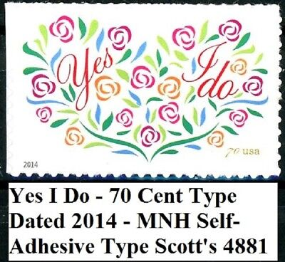 Yes I Do! MNH High Denomination LOVE Stamp Scott's 4881 Dated 2014 Date Postage Stamps