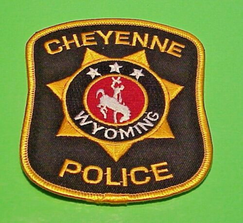 """CHEYENNE  WYOMING  WY  ( GOLD BORDER  SIZE VAR )  4"""" POLICE PATCH  FREE SHIPPING"""