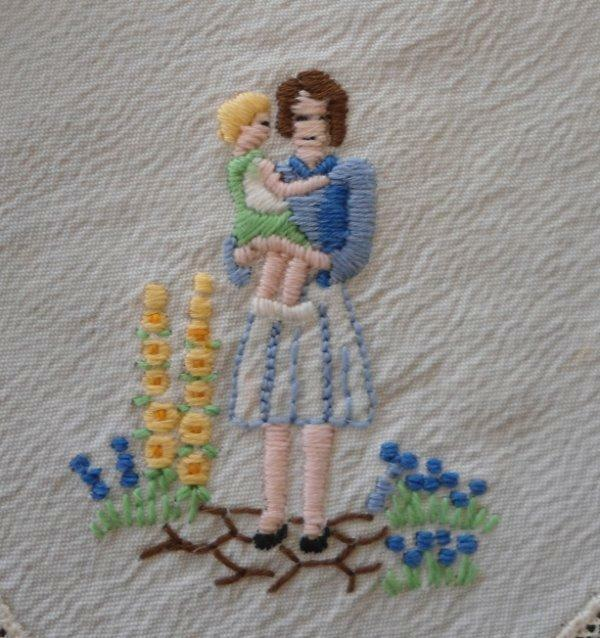 Vintage Hanky Mothers Day Ireland Hand Embroidered Petit Point Net Lace