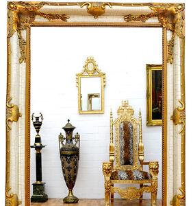 Miroir mural xxl size antique blanc or env 210x120cm bois - Grand miroir mural sur mesure ...
