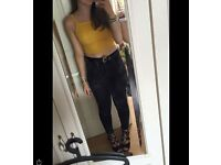 Forever 21 mustard yellow crop top size small