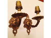 Pair of antique brass wall lights