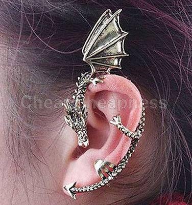 Gothic Punk Metal Vintage Style Dragon Bite Ear Cuff Wrap Clip Earring (Dragon Cuff Earrings)