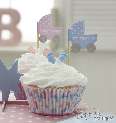 Baby Shower CAKE PICKS-Unisex Cupcake Sticks/Flags-FULL TINY FEET RANGE IN SHOP! (Baby Shower Shop)