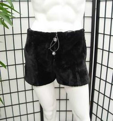BRAND NEW BLACK SHEARED BEAVER FUR SHORTS BOXER BRIEF UNDERWEAR MEN MAN