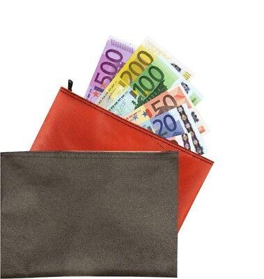 2 x Banktasche orange + schwarz Geldtasche Geldscheintasche Aufbewahrungstasche