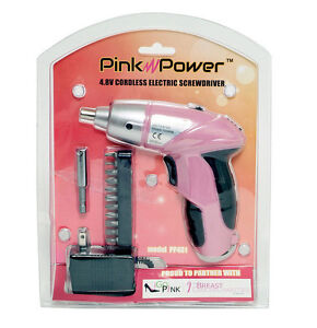Pink Power PP481 4.8V Cordless Electric Screwdriver Kit LED Light Breast Cancer