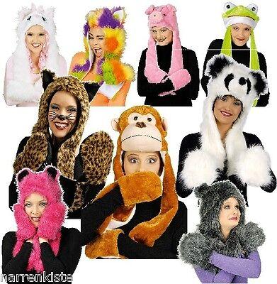 Plüschmütze mit Handwärmer Plüschhut Plüsch Hut Mütze Kostüm Tier Kappe - Katze Mit Hut Kostüm
