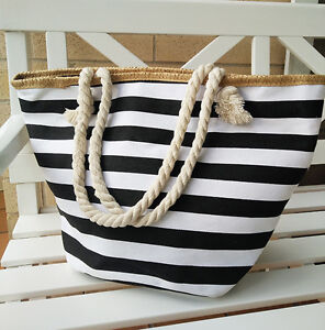 New Women's Rope Handle Black Striped Canvas Shopper/Tote Beach Bag