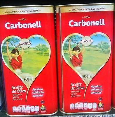 Carbonell 100% Pure Olive Oil~ Spain's Best Brand~ 2~32 oz. Tin