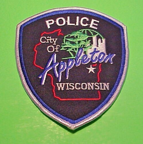 """APPLETON WISCONSIN WI ( SILVER BORDER ) 4 3/4"""" POLICE PATCH  FREE SHIPPING!!!"""