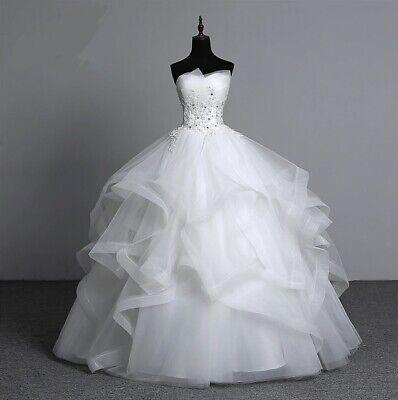 Appliques pearls Vintage White Wedding Dresses Plus Size Strapless Bridal Gown