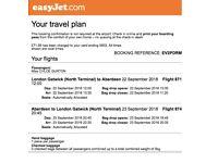 Return flight- London Gatwick to Aberdeen 22nd - 23rd September