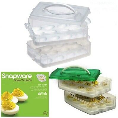 Egg Snap 'N Stack Tray Holder 2 Layer Deviled Eggs Carrier Container Storage Box
