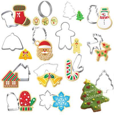Snowflake Cookie Cutter - 14 Christmas Cookie metal Biscuit cutters Santa snowflake reindeer Gingerbread