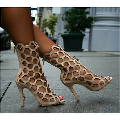 Nude High Cut (NUDE LACE UP CUT OUT HONEY COMB HEXAGON HIGH HEELS FASHION OPEN TOE STILETTOS 10)