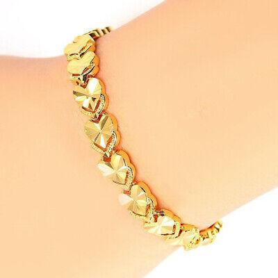 24k Yellow Gold Linked Hearts Chain Bracelet Women's Small 7-1/4