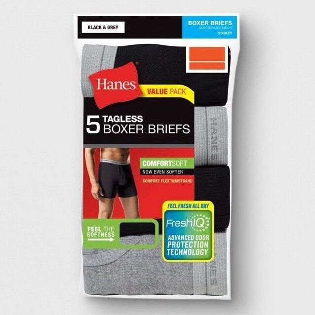 5pk Hanes TAGLESS Boxer Briefs M,L,XL Comfort Soft With Flex